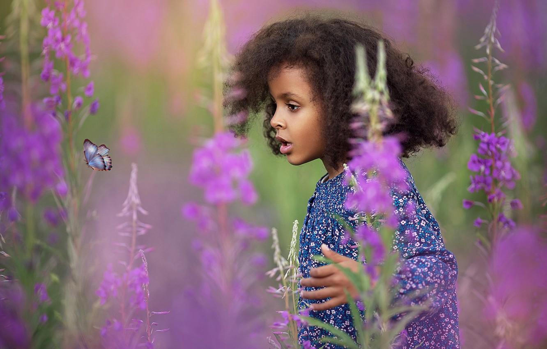 Фото обои цветы, бабочка, удивление, девочка