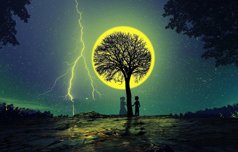 Фото обои ночь, дерево, луна, романтика, силуэты