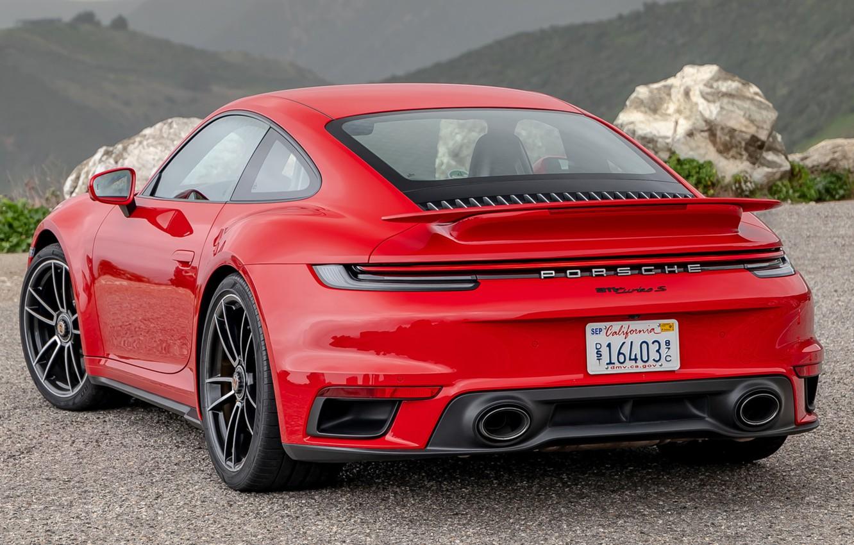 Фото обои красный, Porsche, порше, Porsche 911, Porsche 911 Turbo S, 2020