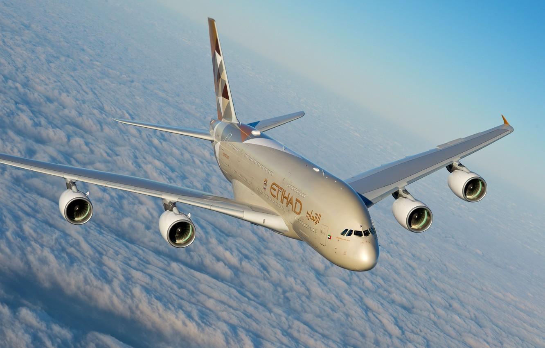 Фото обои Облака, A380, Airbus, Etihad Airways, Airbus A380, Пассажирский самолёт, Airbus A380-800