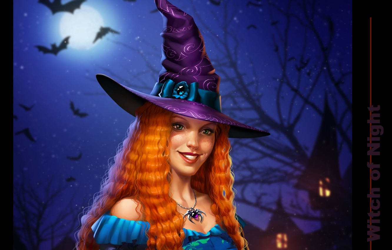 Фото обои ночь, паук, ведьма, летучие мыши, полнолуние, witch, шляпа ведьмы, рыжая бестия, адская ухмылка, конопатая, by …