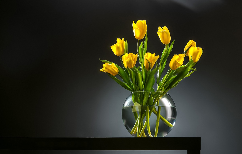 Фото обои фон, букет, тюльпаны, ваза, бутоны, жёлтые тюльпаны