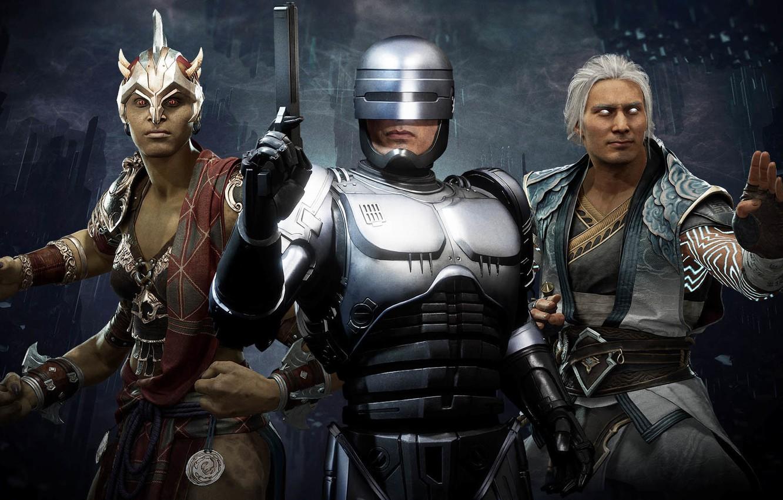 Фото обои Robocop, Aftermath, Alex Murphy, Mortal Kombat 11, god of wind, Sheeva, queen of shokan, Fujin