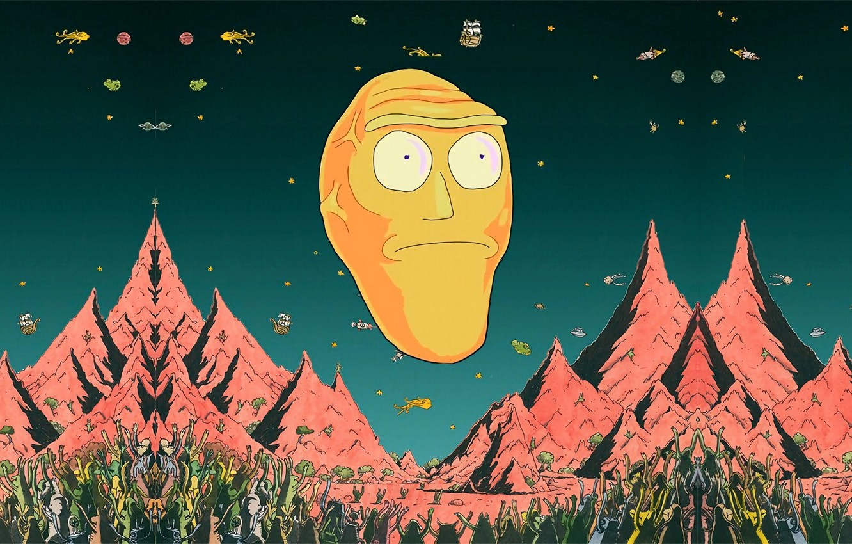 Обои ученный, язык, удивление, пальцы, псих, Morty, Rick and Morty, большие глаза, слюни, Морти, рик, халат, прическа, rick, Рик и Морти. Фильмы foto 10