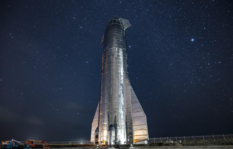 Фото обои Ночь, Звезды, Ракета, Космический корабль, SpaceX, Starship Mk1