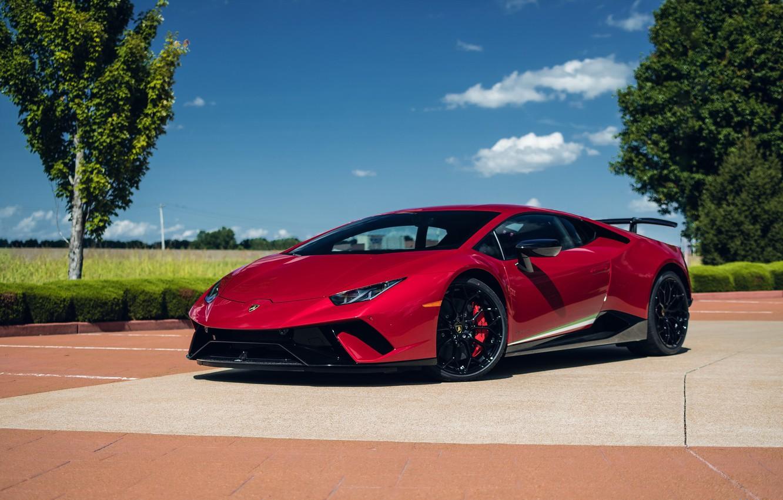 Фото обои Lamborghini, Sky, Blue, RED, VAG, Performante, Huracan