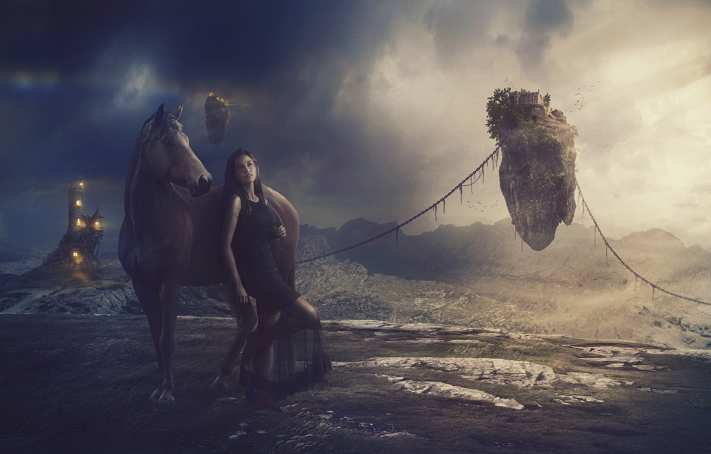 Фото обои трава, девушка, горы, тучи, замок, лошадь, простор, space, light, girl, grass, цепи, строения, mountains, clouds, …