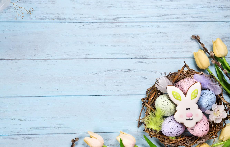 Фото обои цветы, праздник, Пасха, корзинка, фигурки
