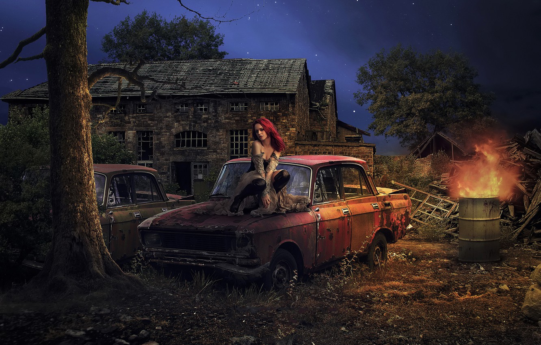 Фото обои машина, девушка, развалины