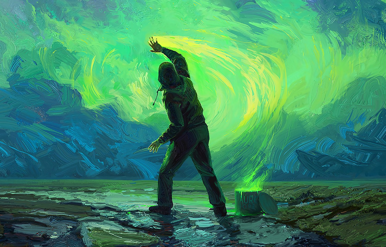Фото обои colors, sky, art, painting, paint, digital art, artwork, concept art, Man, illustration, hood