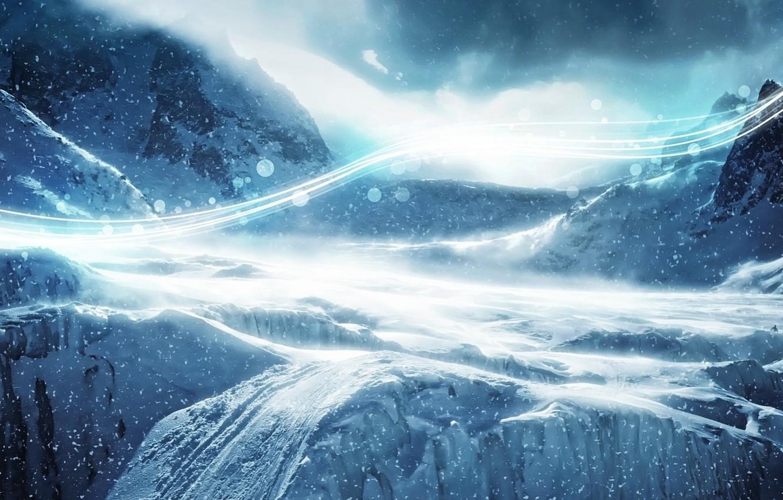 Фото обои Зима, Горы, Снег