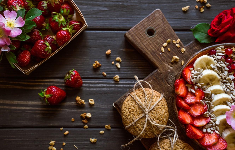 Фото обои печенье, клубника, бананы, fruits, berries, cookies, strawbery