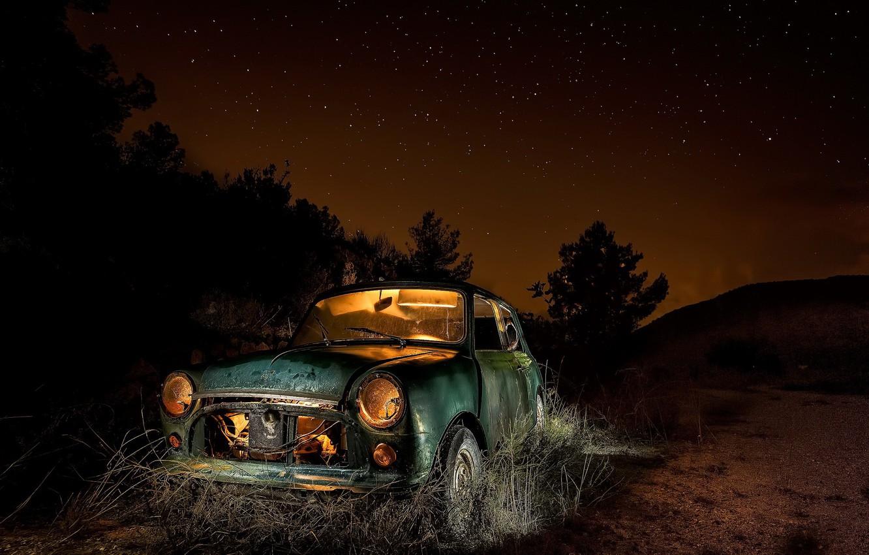 Фото обои машина, ночь, лом