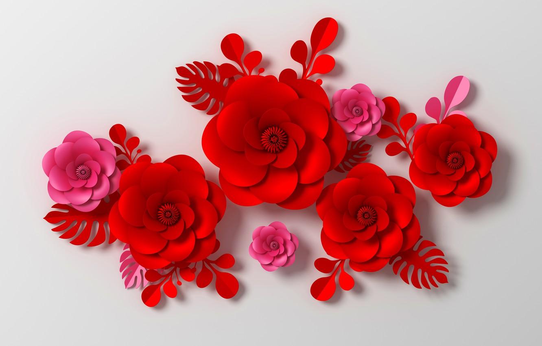 Фото обои цветы, рендеринг, узор, красные, red, pink, flowers, композиция, rendering, paper, composition, floral