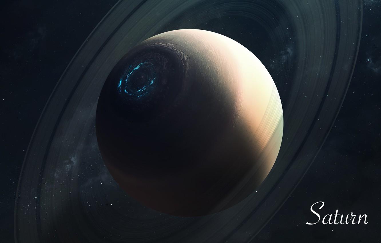 Фото обои Сатурн, Звезды, Планета, Космос, Saturn, Арт, Stars, Space, Art, Planet, Universe, Galaxy, Система, Science Fiction, ...