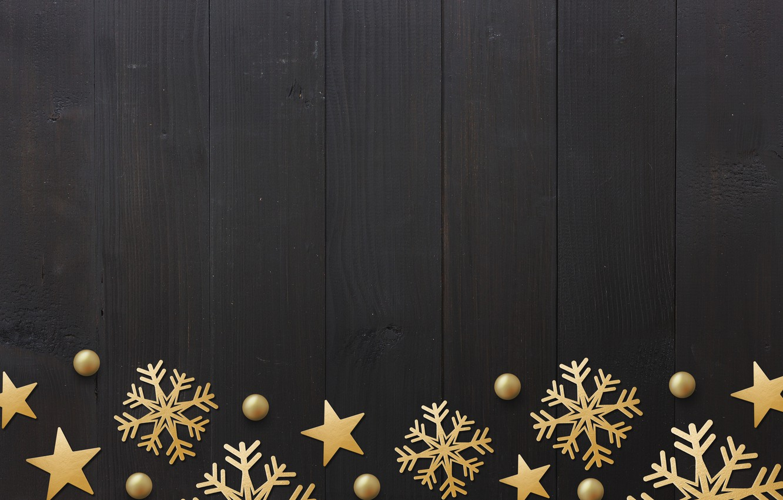 Фото обои зима, снежинки, golden, черный фон, black, Christmas, winter, background, stars, snowflakes