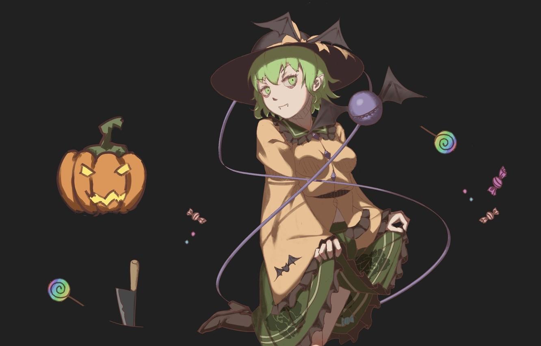 Фото обои темный фон, нож, halloween, зеленые волосы, черная магия, проект Восток, Komeiji Koishi, крылья летучей мыши, …