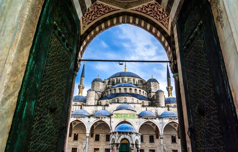 Обои Султанахмет, пролив, башни, Пейзаж, голубая мечеть, дворец, турция, стамбул. Города foto 11