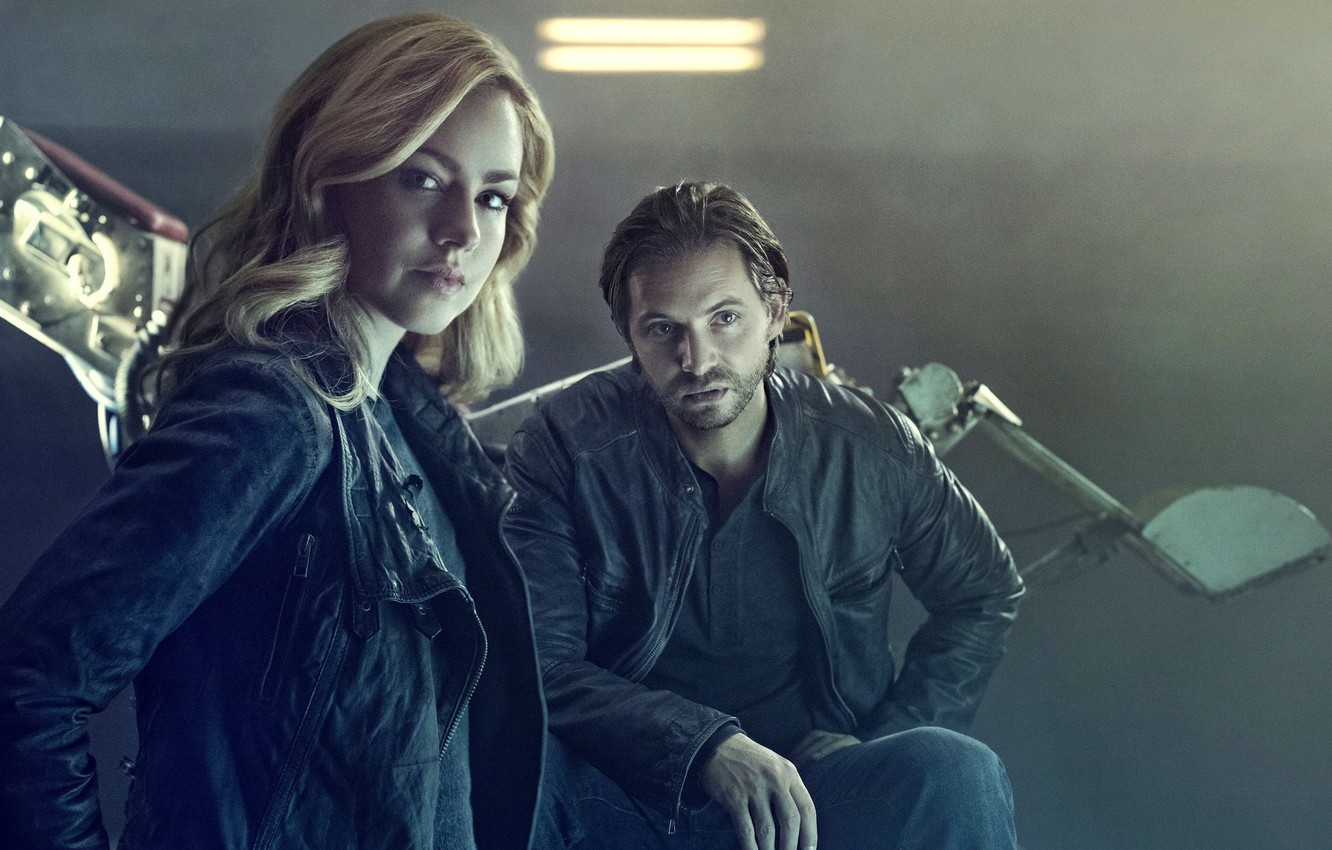 Фото обои actor, actress, Aaron Stanford, tv series, 12 Monkeys, Amanda Schull, 12 monkeys, Cassandra Railly, James …