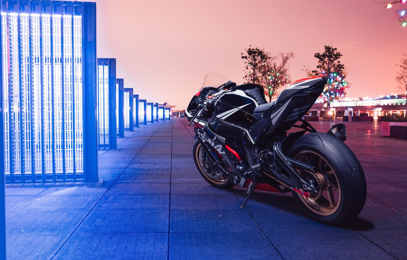 Фото обои city, lights, Kawasaki, night, ninja, kawasaki ninja zx10r