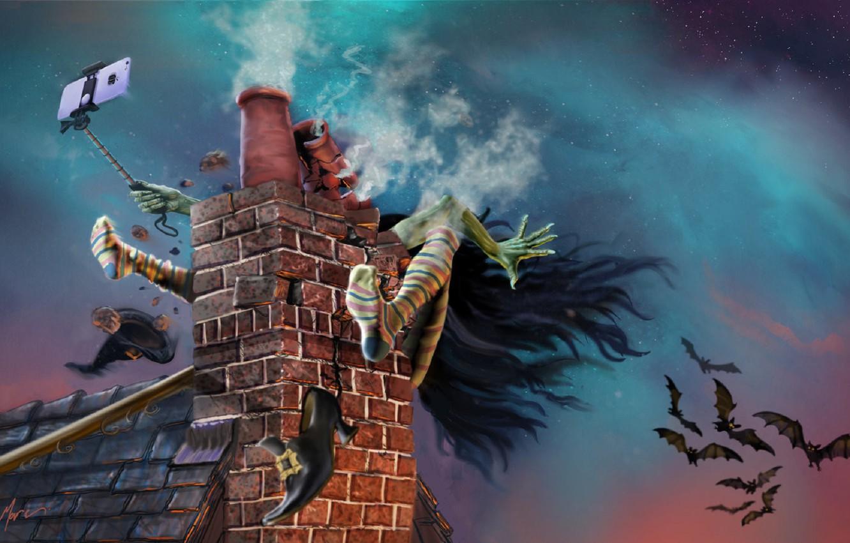 Фото обои авария, труба, Halloween, летучие мыши, на крыше, witch, селфи, полосатые чулки, шляпа ведьмы, ведьма на …