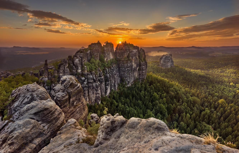 Фото обои горы, Германия, Саксонская Швейцария