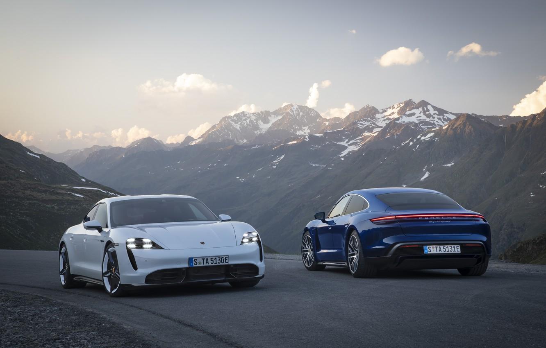Фото обои машина, горы, Porsche, turbo, turbo s, Taycan