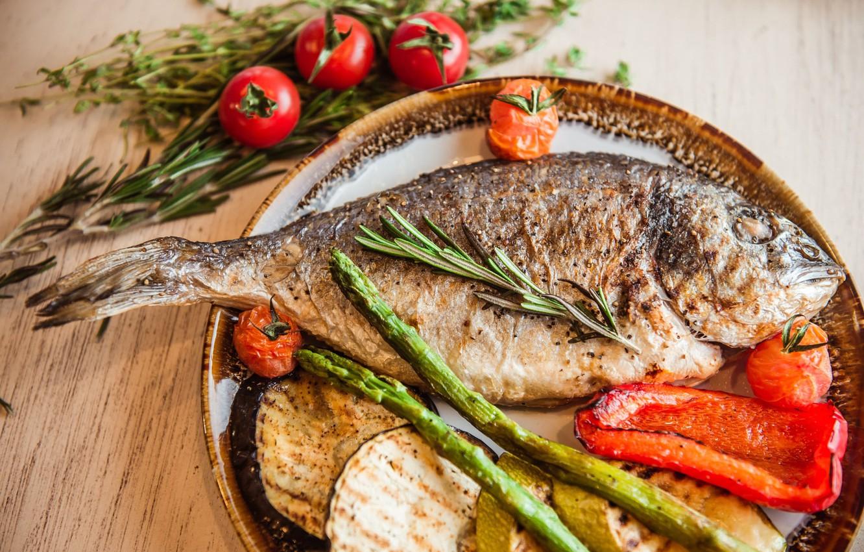 Фото обои рыба, овощи, гриль