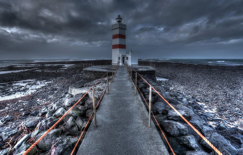 Фото обои море, берег, маяк