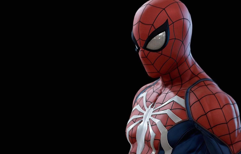 Фото обои фон, человек-паук, spider-man, герой, костюм