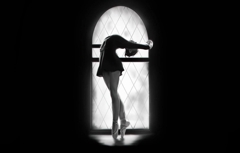 Фото обои Девушка, Минимализм, Рисунок, Окно, Танец, Фон, Арт, Балерина, Francis Law, by Francis Law