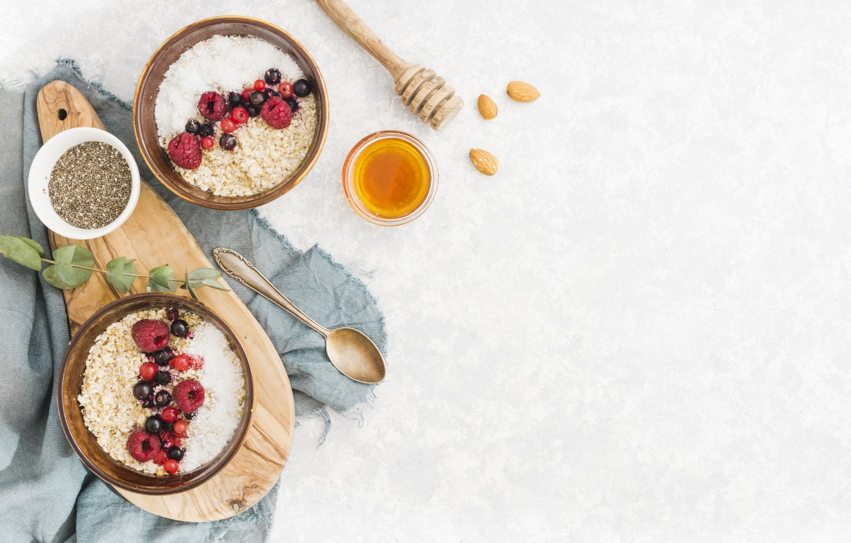 Фото обои ягоды, завтрак, мед, фрукты, хлопья