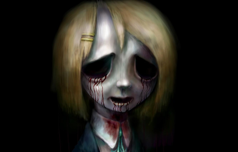 Фото обои зомби, зло, ужас, нежить, кровавые слезы, в темноте, ночной кошмар, Yui Hirasawa, K-ON!, лёгкая музыка, …
