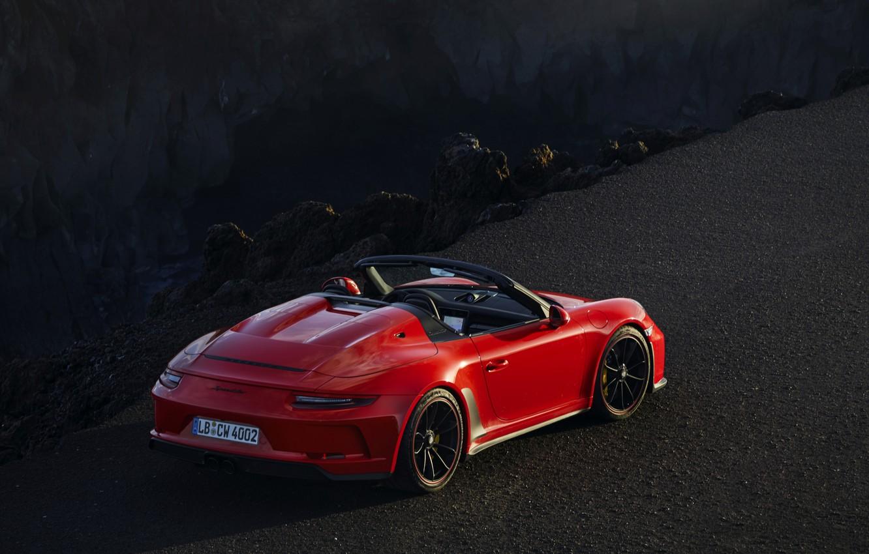 Фото обои красный, камни, обрыв, 911, Porsche, Speedster, 991, 2019, 991.2