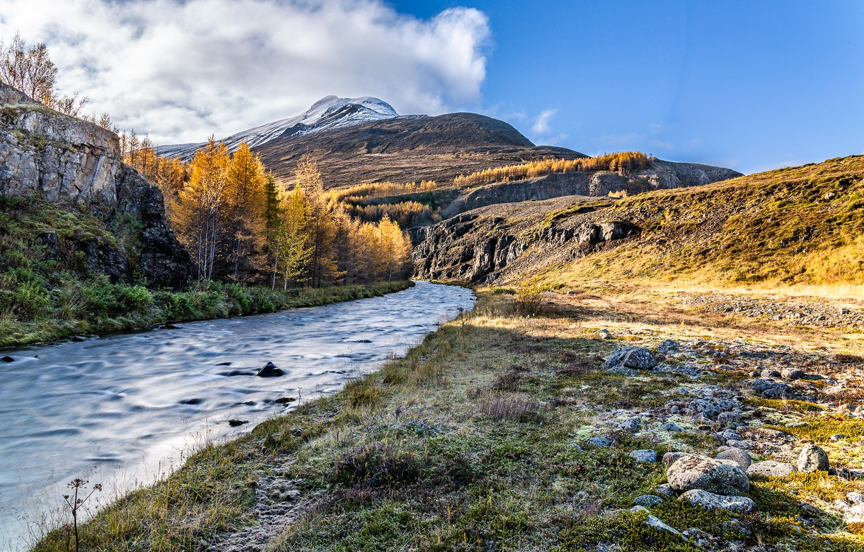 Фото обои осень, горы, река
