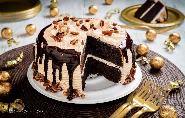 Обои пирожное, орехи, шоколад, крем. Еда foto 11