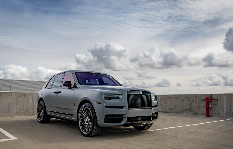 Фото обои Rolls Royce, Sky, SUV, Luxury, Vossen, Graphite, Cullinan