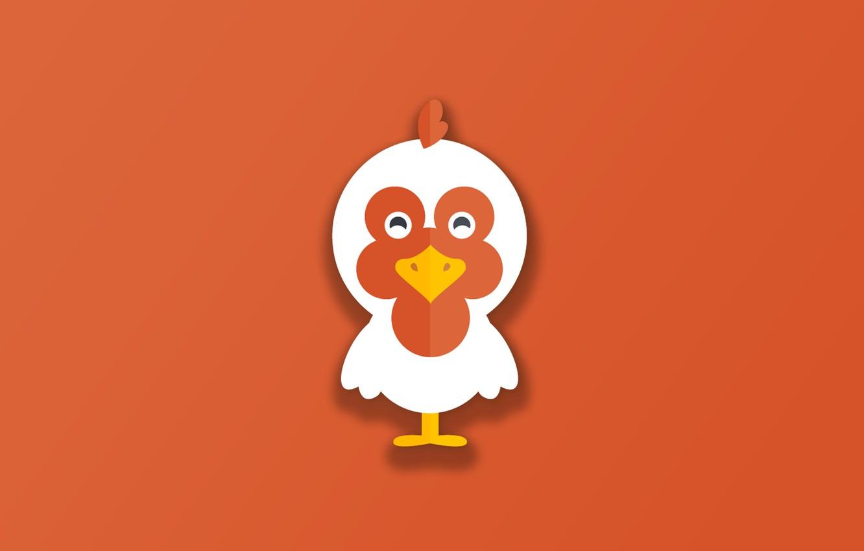 Фото обои minimalism, bird, animal, funny, digital art, artwork, cute, simple background, orange background, Chicken