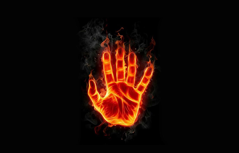 Фото обои огонь, пламя, рука, арт, ладонь, отпечаток