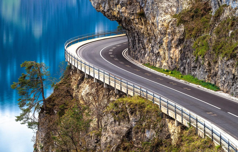 Фото обои дорога, скала, озеро, дерево, Швейцария, Switzerland, сосна, Lake Thun, Тунское озеро, Thunersee