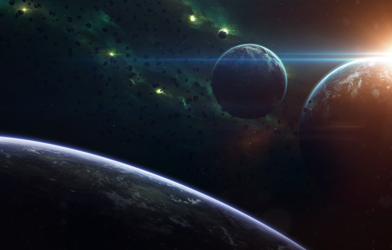 Фото обои Звезды, Планета, Космос, Туманность, Звезда, Свет, Планеты, Light, Planets, Star, Арт, Stars, Space, Блик, Art, …