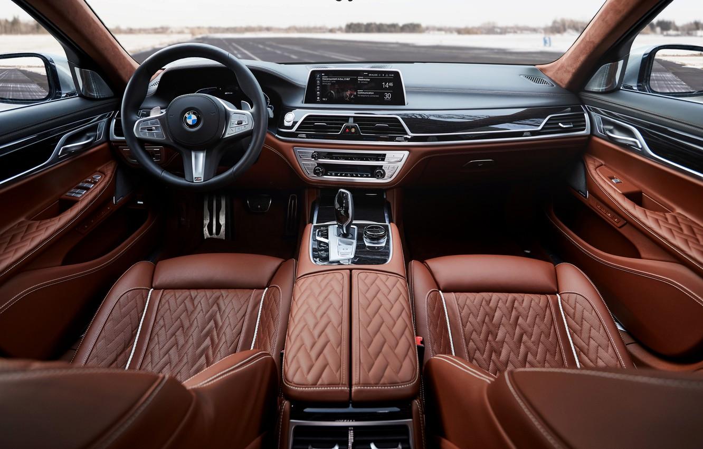 Фото обои BMW, седан, салон, гибрид, четырёхдверный, G12, G11, 7er, 7-series, 2019, 745e, 745Le