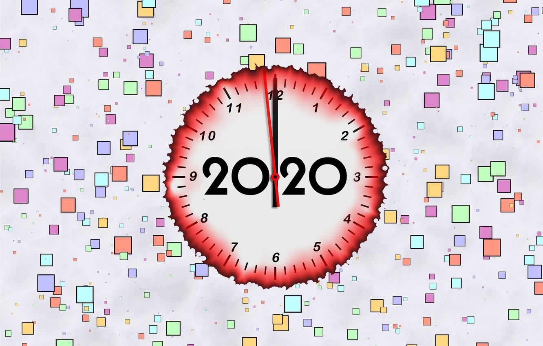 Фото обои фон, стрелки, Новый Год, циферблат, 2020