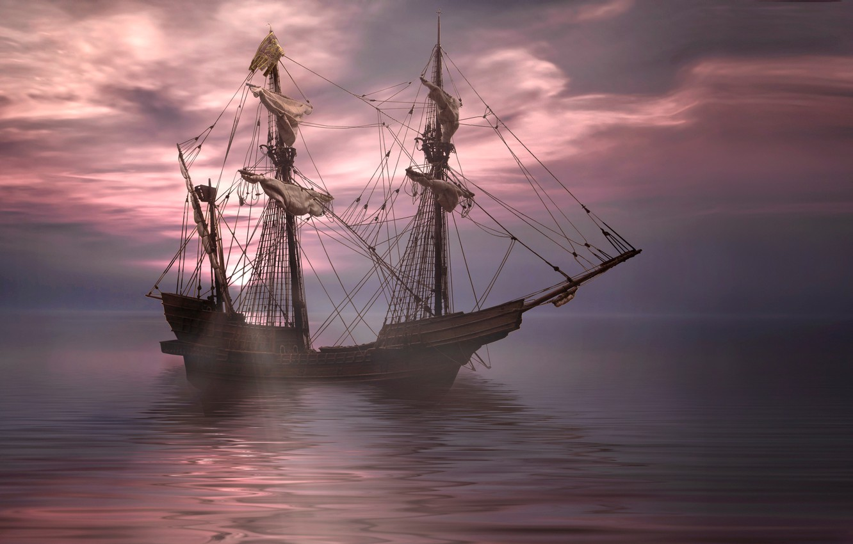 Фото обои море, корабль, парусник, фрегат