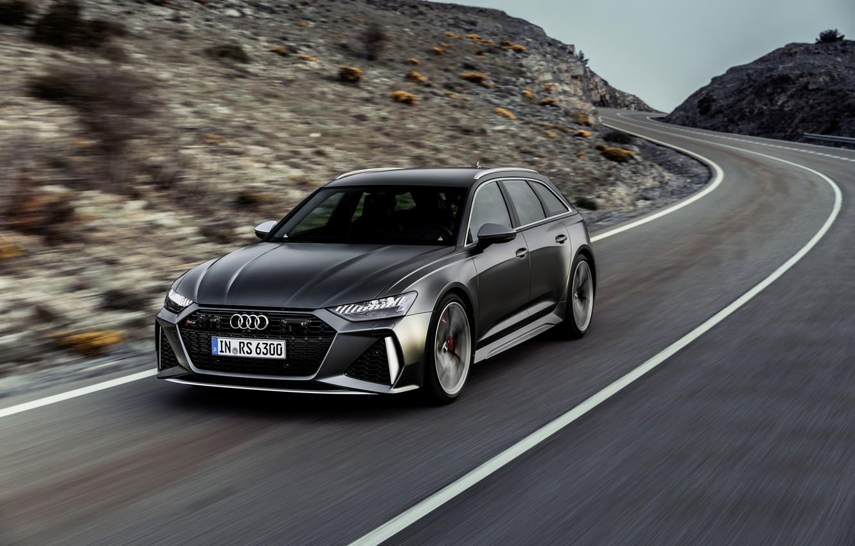 Фото обои Audi, разметка, трасса, универсал, RS 6, 2020, 2019, тёмно-серый, V8 Twin-Turbo, RS6 Avant