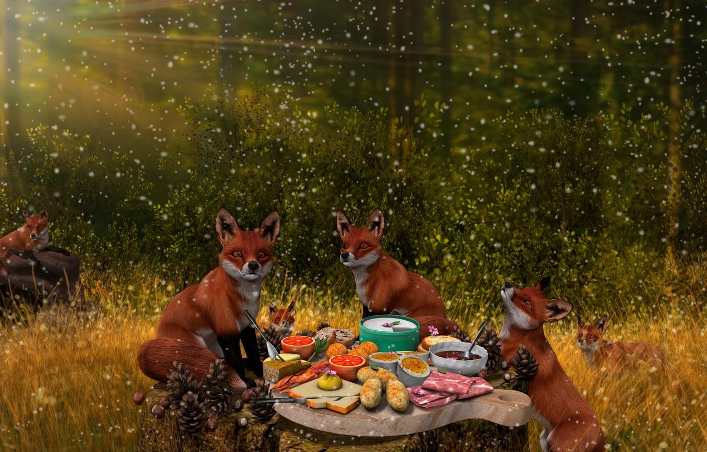 Фото обои лес, природа, рендеринг, фантазия, лиса, лисы, застолье, лисички