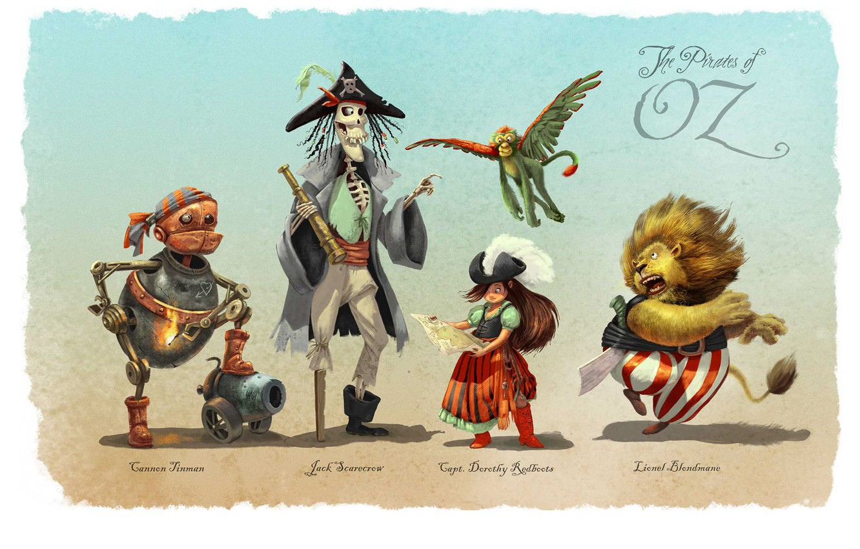 Фото обои труба, существа, тени, пушка, The Pirates of Oz