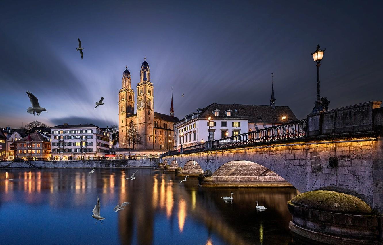 Фото обои птицы, мост, город, река, здания, вечер, Швейцария, освещение, фонари, церковь, башни, лебеди, Цюрих