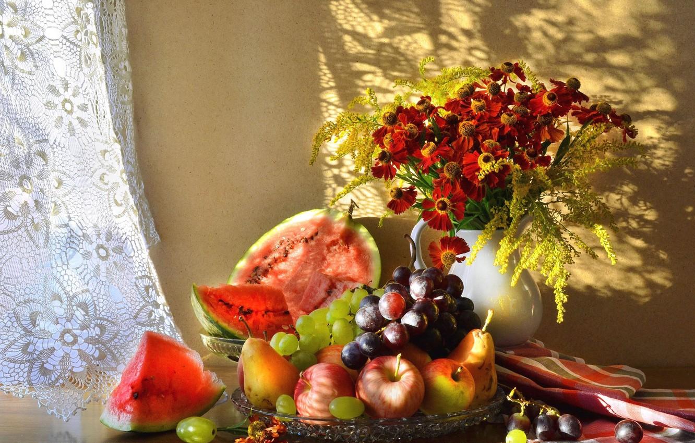 Фото обои цветы, ягоды, фрукты, натюрморт