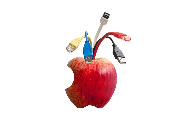 Фото обои яблоко, разъёмы, кабеля